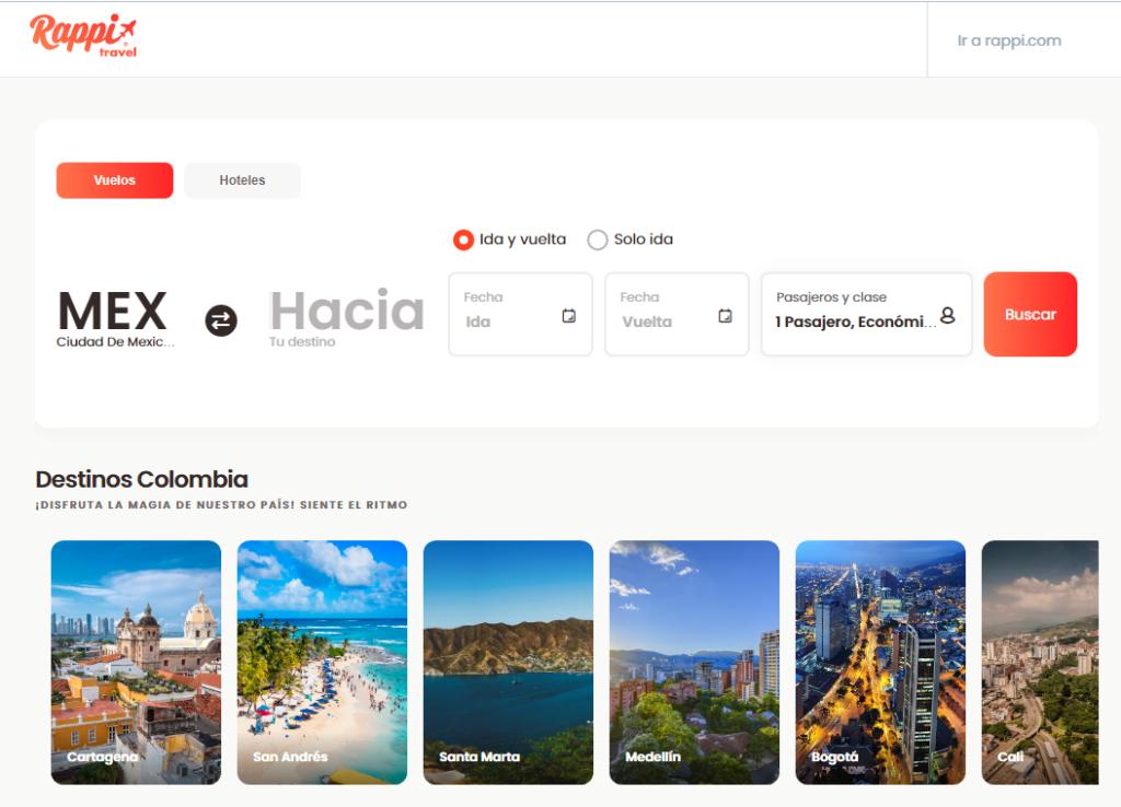 Así luce la interfaz de usuario de Rappi Travel, la nueva expansión de negocio de Rappi. Fuente: Rappi.