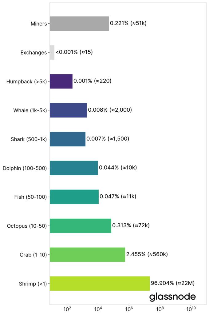 Figura 4: el número estimado de entidades de red por tamaño (a enero de 2021, escala logarítmica). Fuente: Glassnode