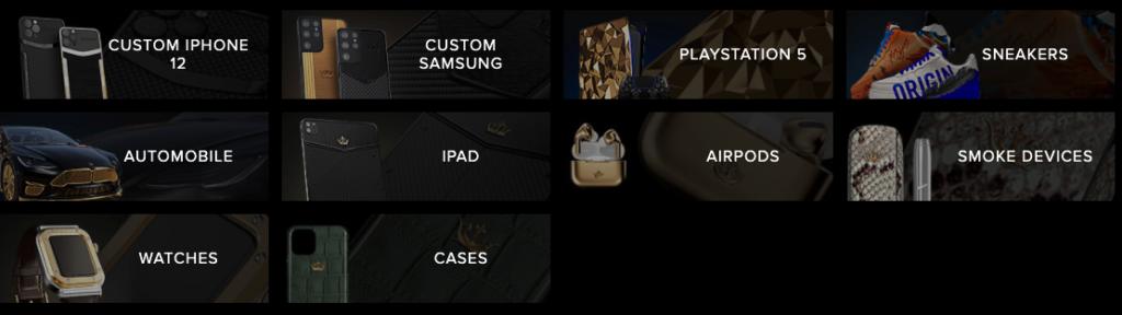 Catálogo de productos de lujo de Caviar. Fuente: Caviar.