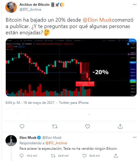 Así respondió Elon Musk a la controversia que ha generado sobre BTC en los últimos días, luego de sus declaraciones en Twitter. Según él, Tesla no ha vendido ningún Bitcoin hasta la fecha. Fuente: Twitter.