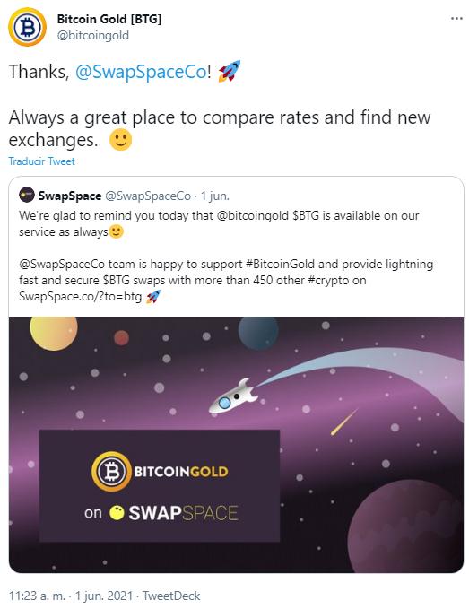 Integración de Bitcoin Gold en SwapSpace