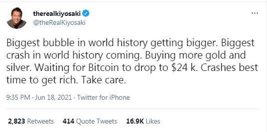Robert Kiyosaki predice que se aproxima la caída más grande de toda la historia. Fuente: Twitter