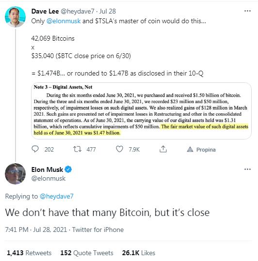 Si alguna vez te preguntaste ¿Cuántos bitcoins tiene Elon Musk en sus wallets? La respuesta la dejó entrever él mismo en Twitter. Fuente: Captura de pantalla de Twitter