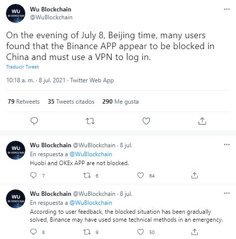 Hilo de repuestas de Wu Blockchain sobre el bloqueo de Binance
