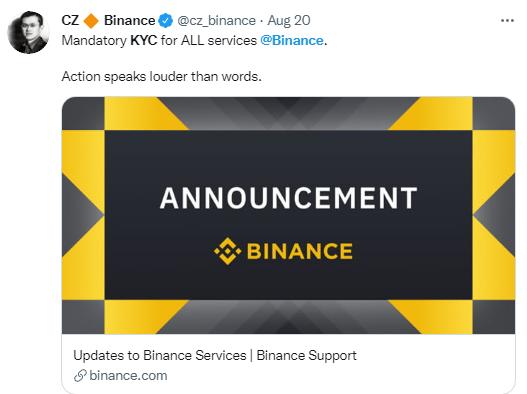 La plataforma de compra y venta de criptomonedas más importante del mundo, Binance, aplica el KYC en un intento de calmar a los reguladores. Fuente: Captura de pantalla en Twitter