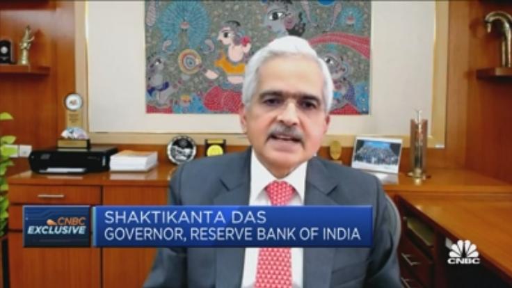 Durante una entrevista, el máximo representante del banco central de la India, Shaktikanta Das, aseguró que para finales de año estarían iniciando el proceso de pruebas de su CBDC. Fuente: Captura de pantalla en CNBC