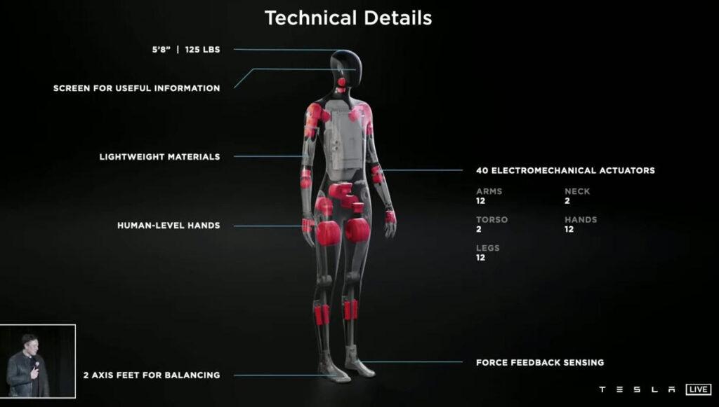 Detalles técnicos del Tesla Bot. Fuente: Tesla