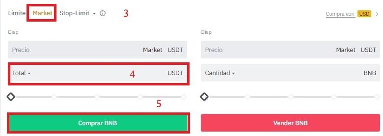 Comprar el token BNB a precio de mercado