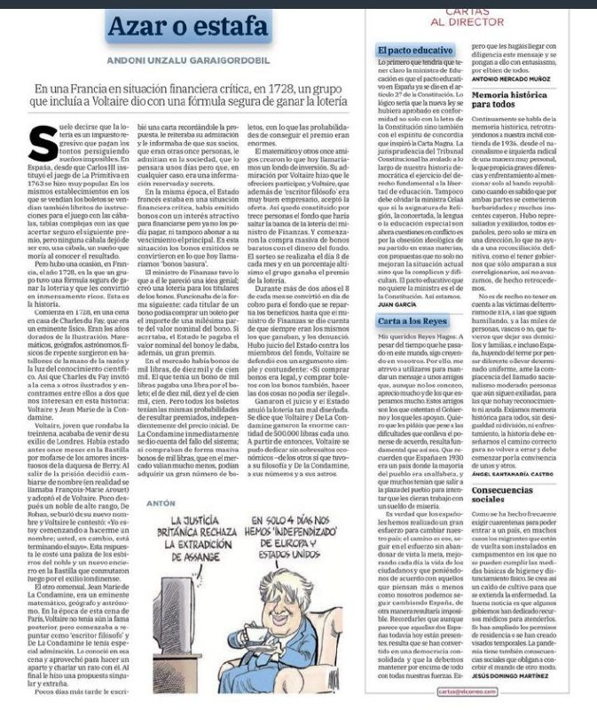 El Método de Voltaire, azar o estafa. Fuente: @elcorreo.com